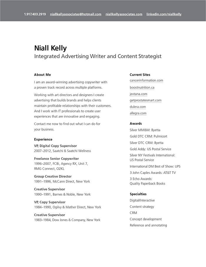 Resume « Niall Kelly